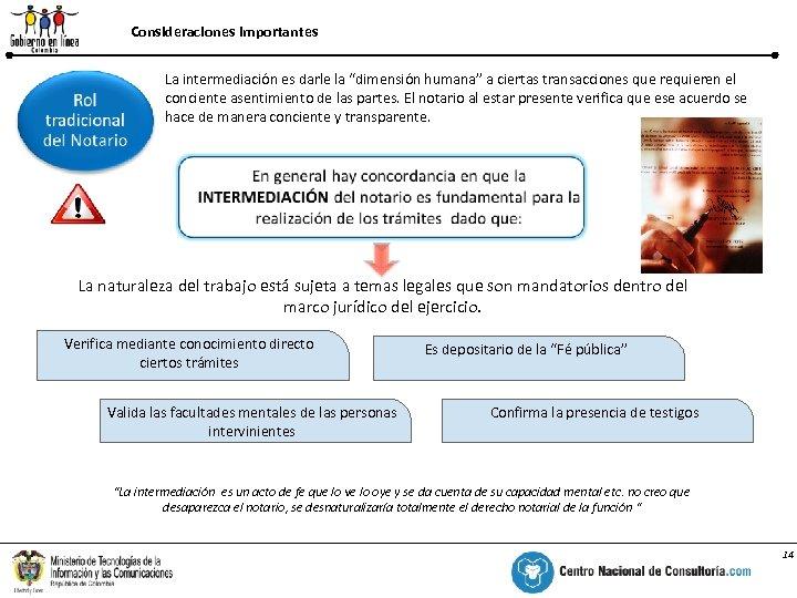 """Consideraciones Importantes % La intermediación es darle la """"dimensión humana"""" a ciertas transacciones que"""