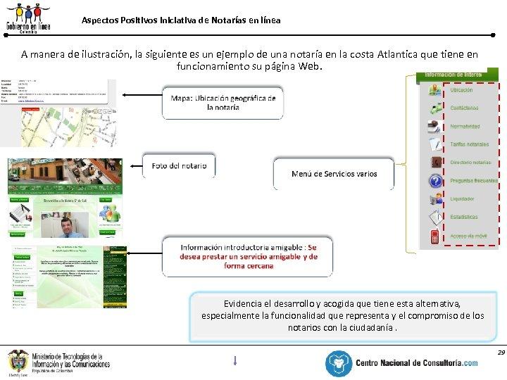 Aspectos Positivos / Iniciativa deutilizados línea recursos Notarías en A manera de ilustración, la