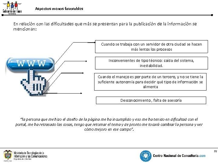 Aspectos menos favorables Barreras o dificultades para alimentar información en el sistema En relación