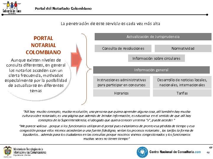 Portal del Notariado Colombiano % La penetración de este servicio es cada vez más