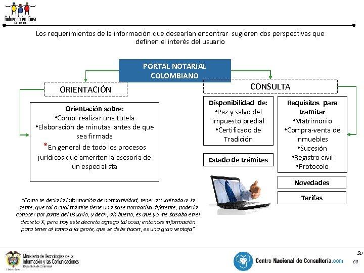 PNC – Portal del Notariado Colombiano % Los requerimientos de la información que desearían