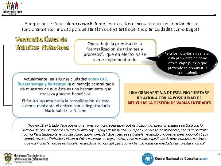 Ventanilla Única de Trámites Notariales % Aunque no se tiene pleno conocimiento, los notarios