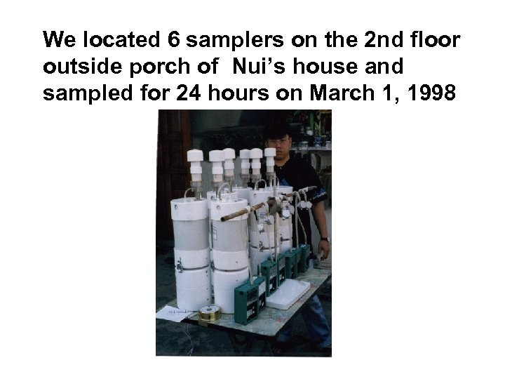 We located 6 samplers on the 2 nd floor outside porch of Nui's house
