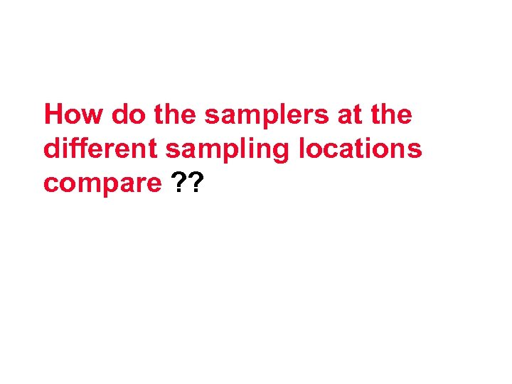 How do the samplers at the different sampling locations compare ? ?