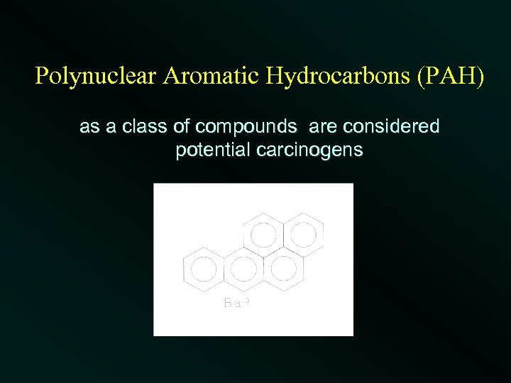 Polynuclear Aromatic Hydrocarbons (PAH) as a class of compounds are considered potential carcinogens