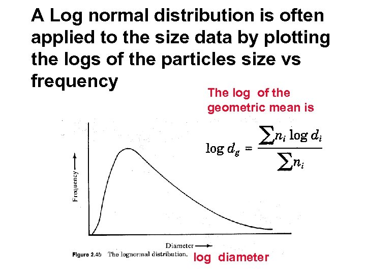A Log normal distribution is often applied to the size data by plotting the