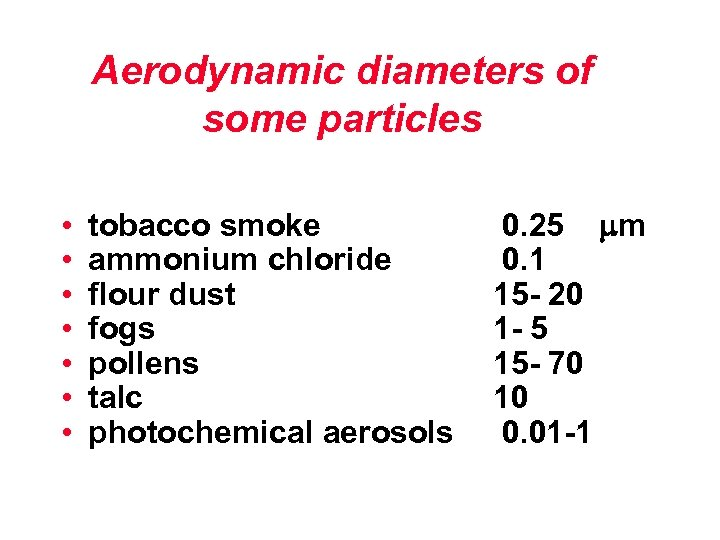 Aerodynamic diameters of some particles • • tobacco smoke ammonium chloride flour dust fogs