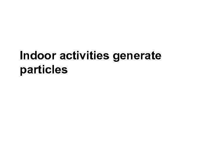 Indoor activities generate particles