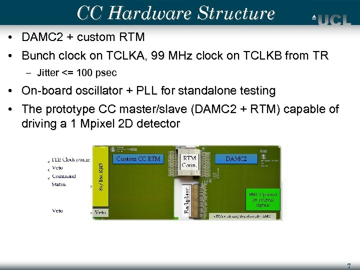 CC Hardware Structure • DAMC 2 + custom RTM • Bunch clock on TCLKA,