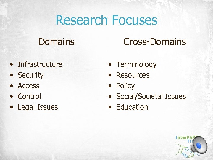 Research Focuses Domains • • • Infrastructure Security Access Control Legal Issues Cross-Domains •