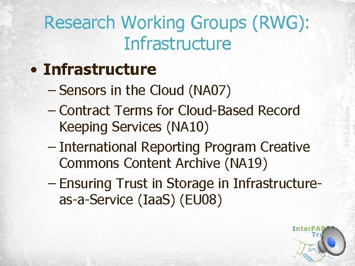 Research Working Groups (RWG): Infrastructure • Infrastructure – Sensors in the Cloud (NA 07)