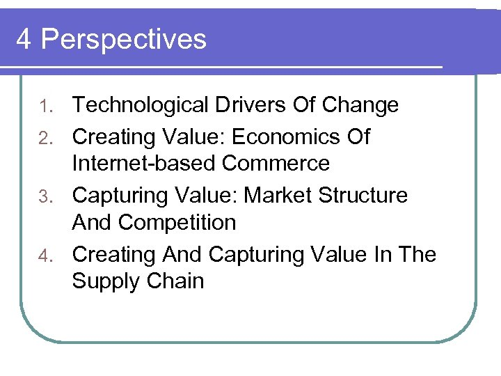4 Perspectives Technological Drivers Of Change 2. Creating Value: Economics Of Internet-based Commerce 3.