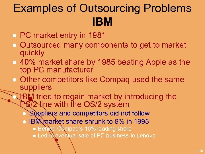 Examples of Outsourcing Problems IBM l l l PC market entry in 1981 Outsourced