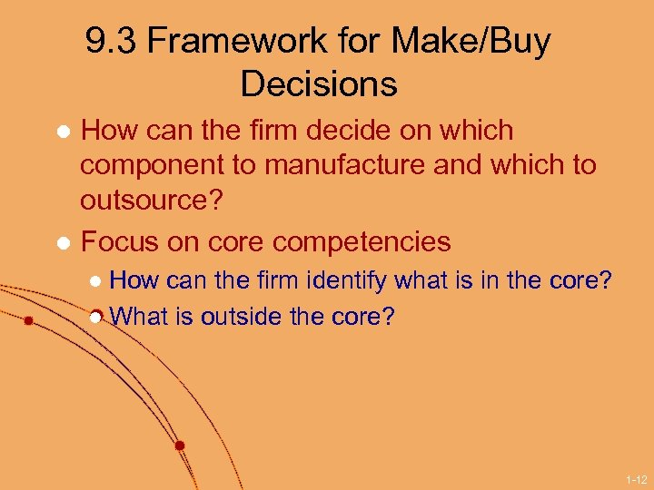 9. 3 Framework for Make/Buy Decisions How can the firm decide on which component