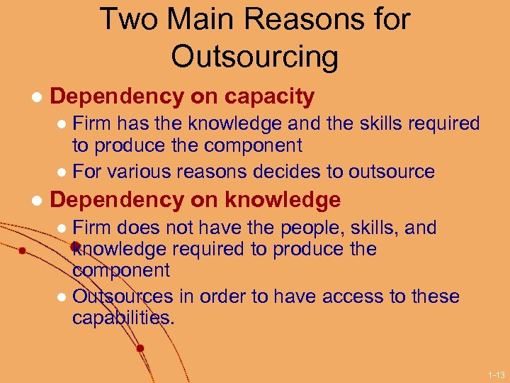 Two Main Reasons for Outsourcing l Dependency on capacity Firm has the knowledge and