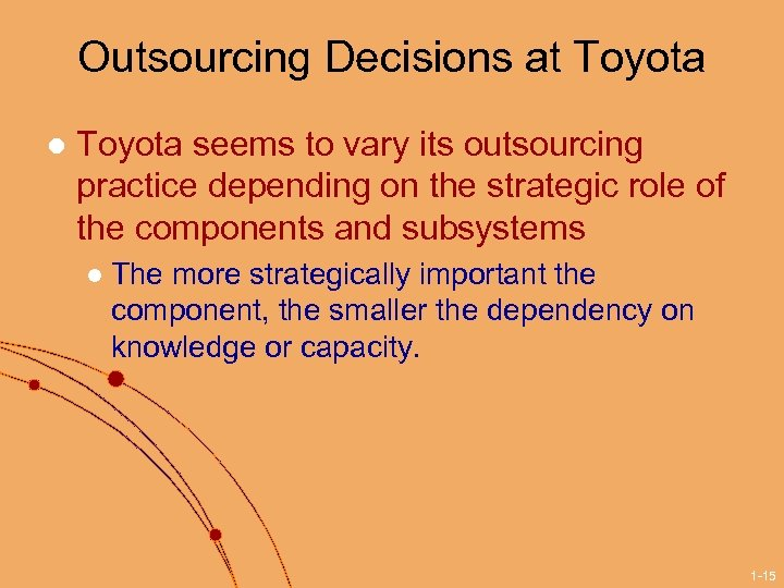 Outsourcing Decisions at Toyota l Toyota seems to vary its outsourcing practice depending on