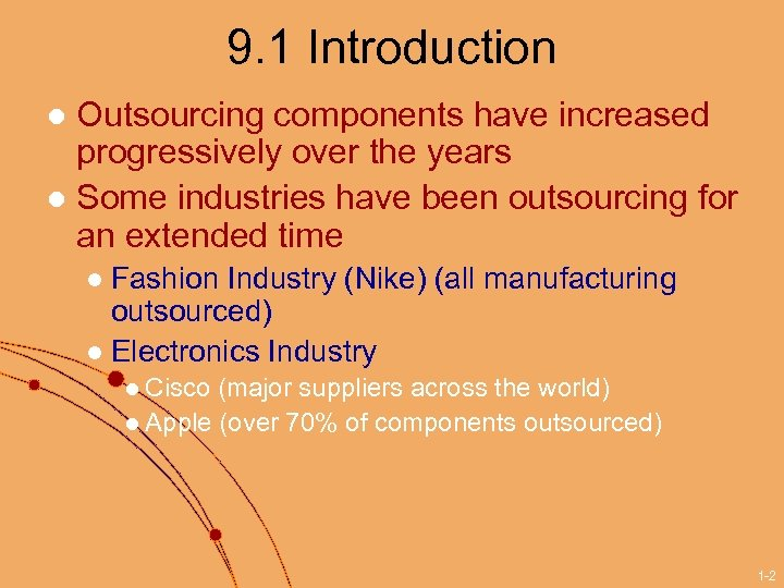 9. 1 Introduction Outsourcing components have increased progressively over the years l Some industries