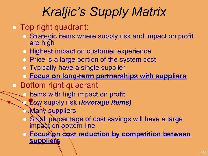 Kraljic's Supply Matrix l Top right quadrant: l l l Strategic items where supply