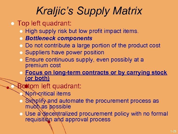Kraljic's Supply Matrix l Top left quadrant: l l l l High supply risk