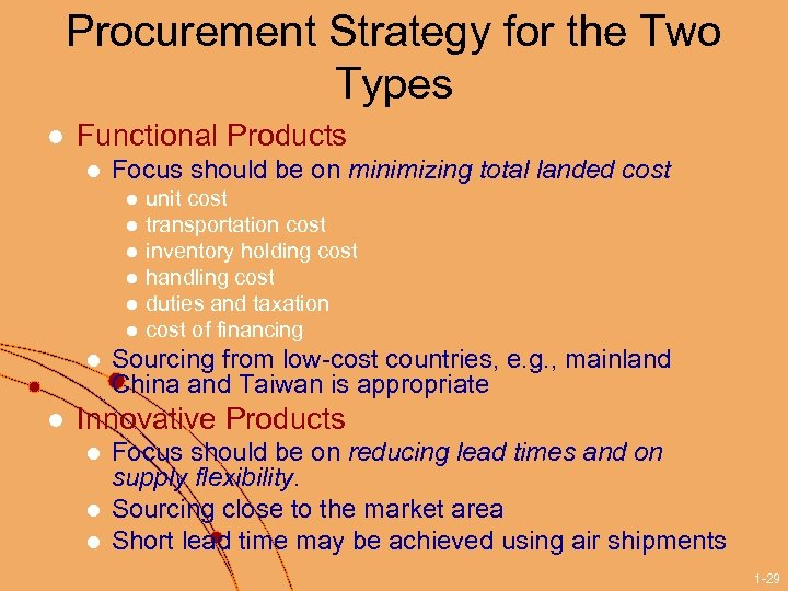 Procurement Strategy for the Two Types l Functional Products l Focus should be on
