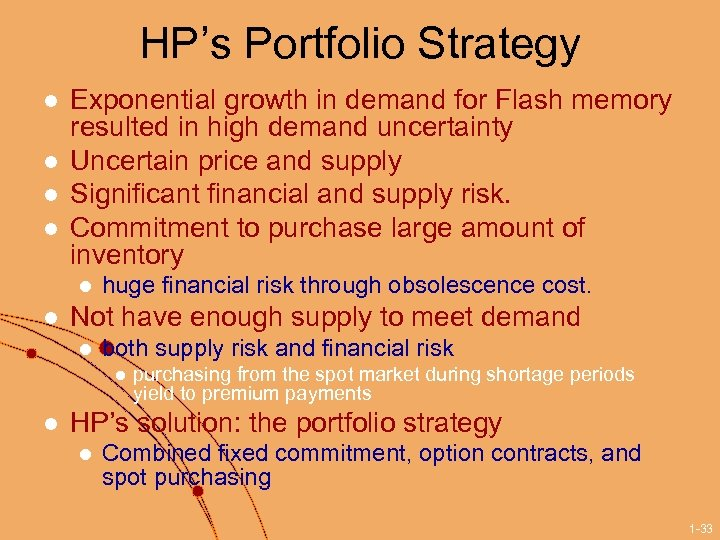 HP's Portfolio Strategy l l Exponential growth in demand for Flash memory resulted in