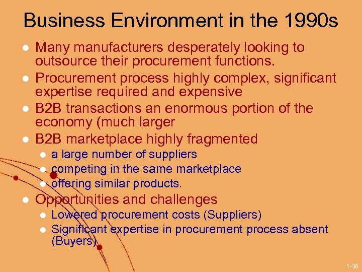 Business Environment in the 1990 s l l Many manufacturers desperately looking to outsource