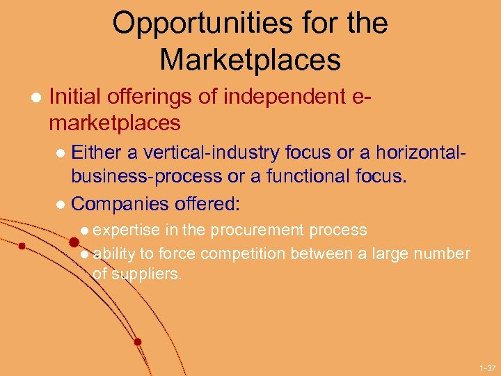 Opportunities for the Marketplaces l Initial offerings of independent emarketplaces Either a vertical-industry focus