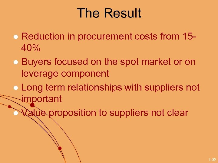 The Result Reduction in procurement costs from 1540% l Buyers focused on the spot
