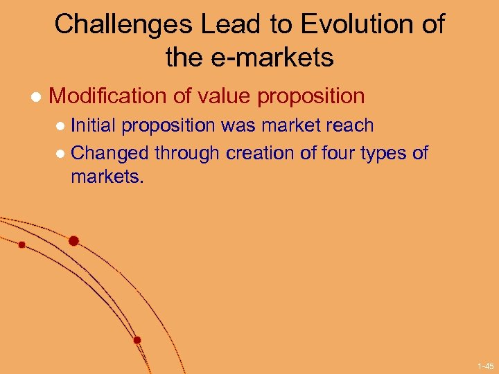 Challenges Lead to Evolution of the e-markets l Modification of value proposition Initial proposition