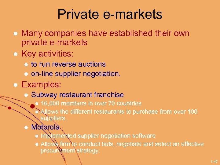 Private e-markets l l Many companies have established their own private e-markets Key activities: