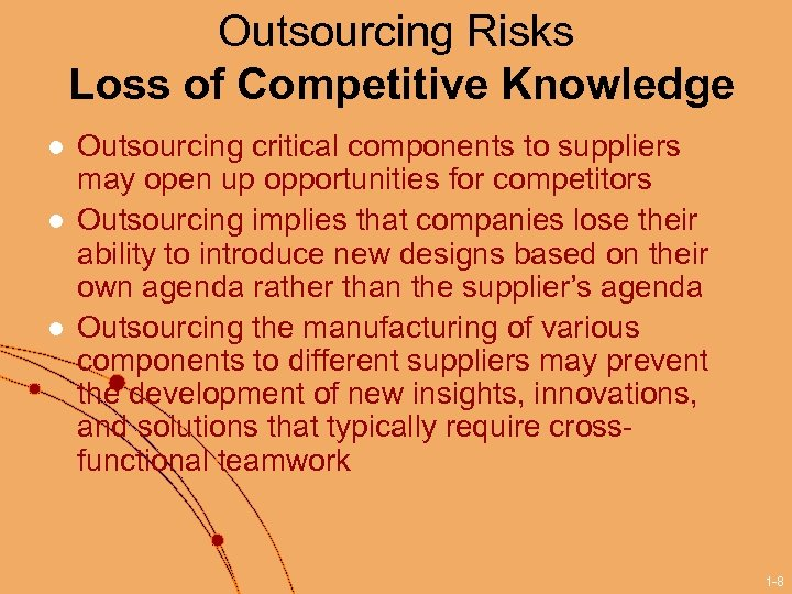 Outsourcing Risks Loss of Competitive Knowledge l l l Outsourcing critical components to suppliers