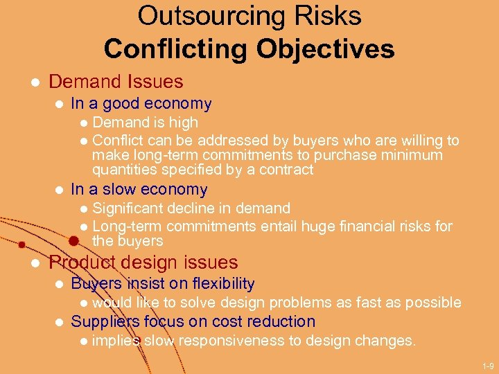 Outsourcing Risks Conflicting Objectives l Demand Issues l In a good economy Demand is
