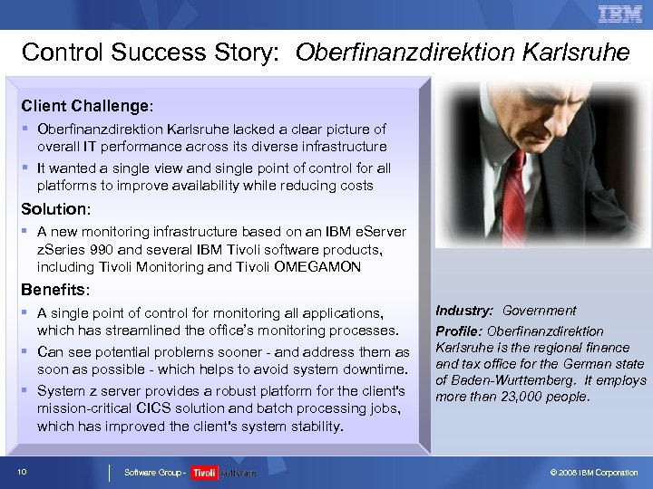 Control Success Story: Oberfinanzdirektion Karlsruhe Client Challenge: § Oberfinanzdirektion Karlsruhe lacked a clear picture