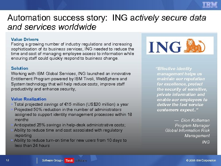 Automation success story: ING actively secure data and services worldwide Value Drivers Facing a