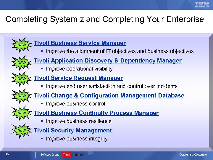 Completing System z and Completing Your Enterprise NEW Tivoli Business Service Manager § Improve