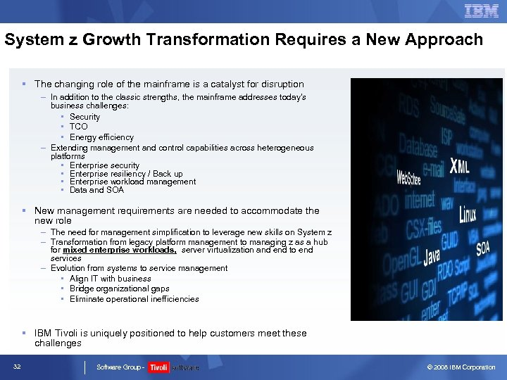 System z Growth Transformation Requires a New Approach § The changing role of the