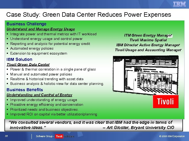 Case Study: Green Data Center Reduces Power Expenses Business Challenge Understand Manage Energy Usage