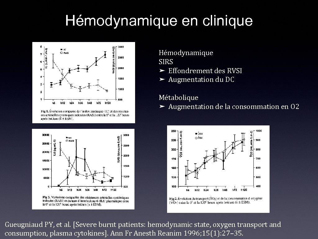 Hémodynamique en clinique Hémodynamique SIRS ➤ Effondrement des RVSI ➤ Augmentation du DC Métabolique