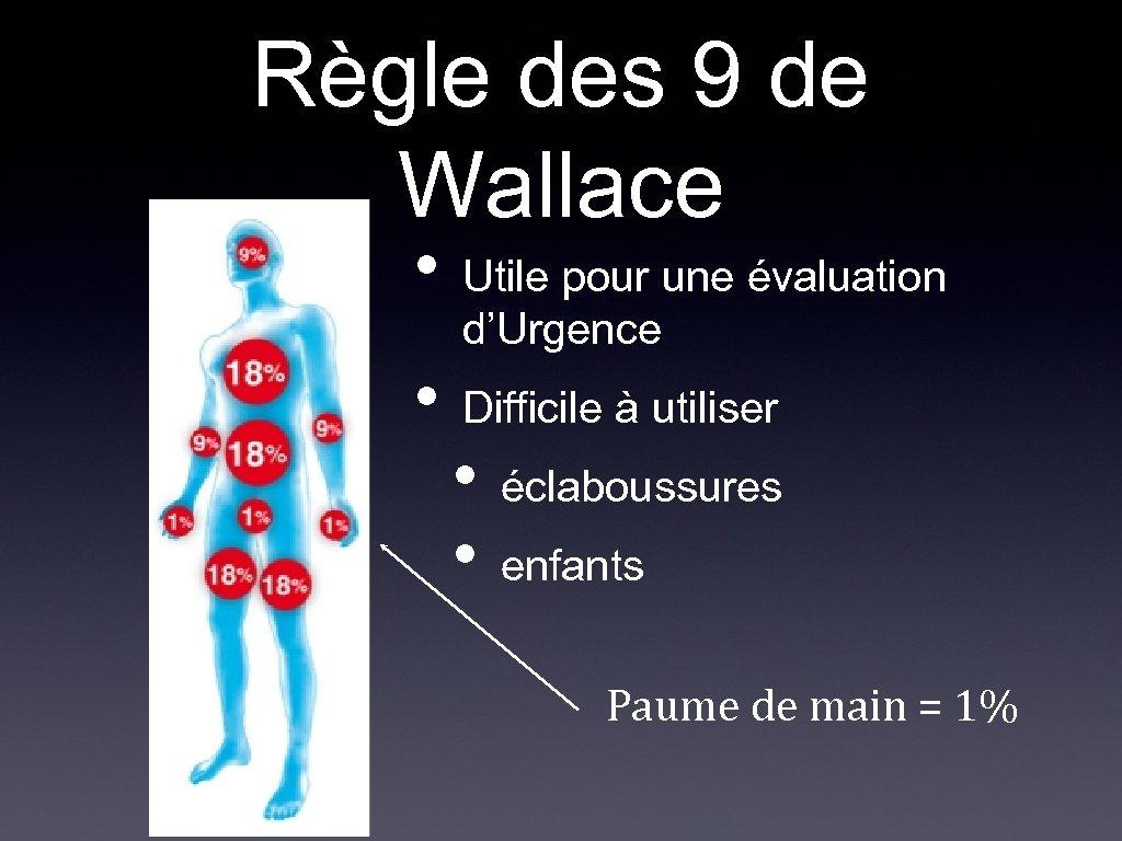 Règle des 9 de Wallace • • Utile pour une évaluation d'Urgence Difficile à