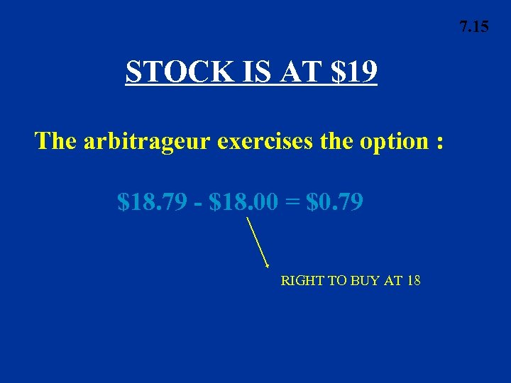 7. 15 STOCK IS AT $19 The arbitrageur exercises the option : $18. 79