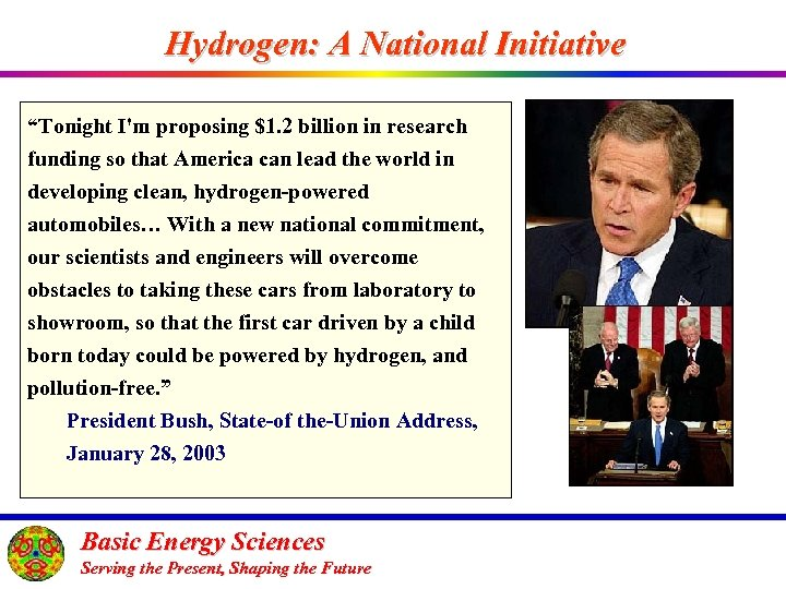 """Hydrogen: A National Initiative """"Tonight I'm proposing $1. 2 billion in research funding so"""