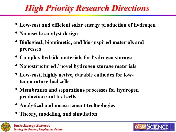 High Priority Research Directions • Low-cost and efficient solar energy production of hydrogen •