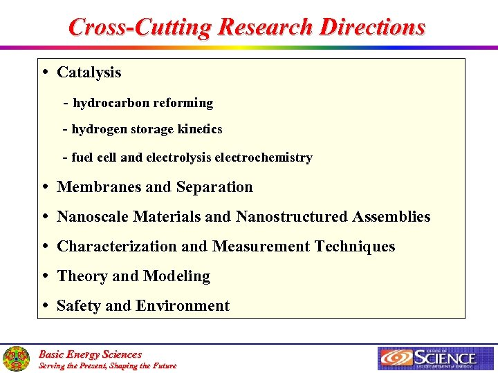 Cross-Cutting Research Directions • Catalysis - hydrocarbon reforming - hydrogen storage kinetics - fuel