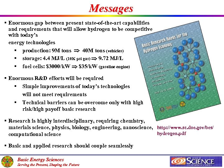 Messages § Enormous gap between present state-of-the-art capabilities and requirements that will allow hydrogen