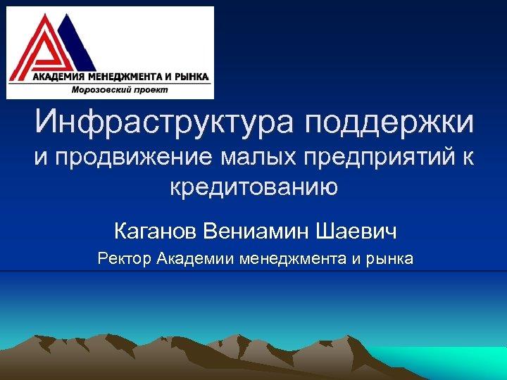 Инфраструктура поддержки и продвижение малых предприятий к кредитованию Каганов Вениамин Шаевич Ректор Академии менеджмента
