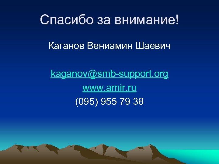 Спасибо за внимание! Каганов Вениамин Шаевич kaganov@smb-support. org www. amir. ru (095) 955 79