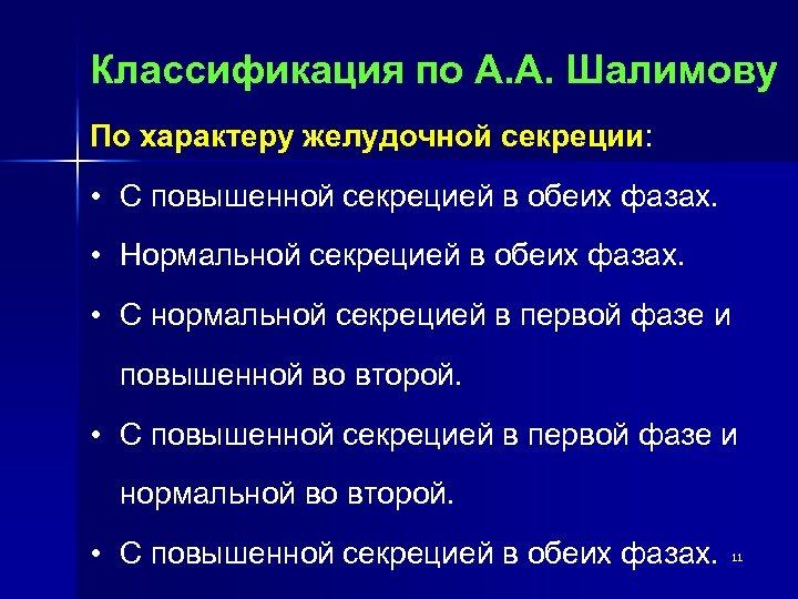 Классификация по А. А. Шалимову По характеру желудочной секреции: • С повышенной секрецией в