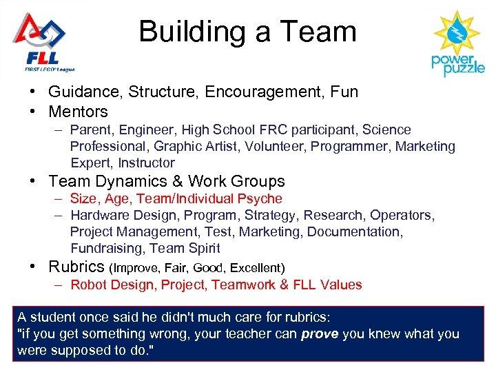 Building a Team • Guidance, Structure, Encouragement, Fun • Mentors – Parent, Engineer, High