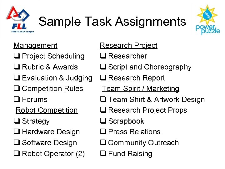 Sample Task Assignments Management q Project Scheduling q Rubric & Awards q Evaluation &
