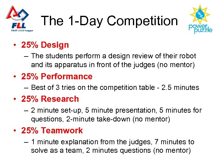 The 1 -Day Competition • 25% Design – The students perform a design review
